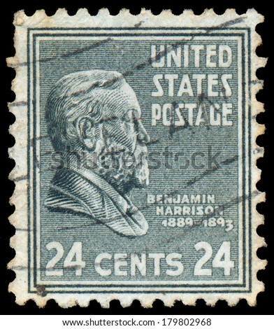UNITED STATES OF AMERICA - CIRCA 1938: a stamp printed in the United States of America shows Benjamin Harrison, 23rd President of USA 1889-1893, circa 1938