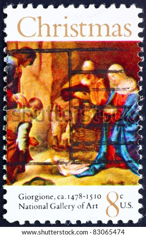 UNITED STATES OF AMERICA - CIRCA 1971: a stamp printed in the United States of America shows painting Adoration of the Shepherds by Giorgione, circa 1971