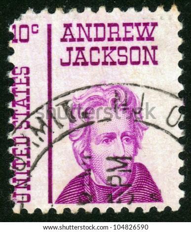 UNITED STATES OF AMERICA - CIRCA 1967: a stamp printed in the United States of America shows Andrew Jackson, 7th President of USA 1829-1837, circa 1967 - stock photo