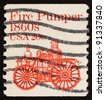 UNITED STATES OF AMERICA - CIRCA 1981: a stamp printed in the United States of America shows Fire pumper 1860s, fire truck, circa 1981 - stock photo