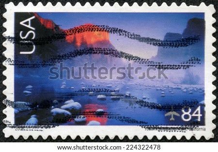 UNITED STATES OF AMERICA - CIRCA 2006: A stamp printed in the United States of America shows image of Yosemite National Park in California, series, circa 2006 - stock photo