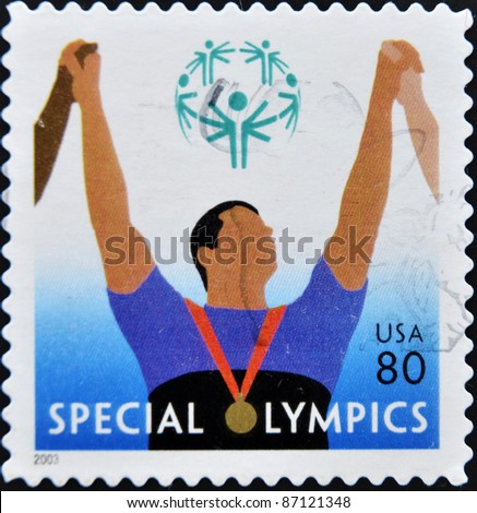 UNITED STATES OF AMERICA - CIRCA 2003: A stamp printed in the United States of America shows image celebrating the Special Olympics, series, circa 2003
