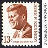 UNITED STATES OF AMERICA - CIRCA 1967: a stamp printed in the United States of America shows John F. Kennedy, 35th President of USA 1961-1963, circa 1967 - stock photo