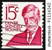 UNITED STATES OF AMERICA - CIRCA 1968: a stamp printed in the United States of America shows Oliver Wendell Holmes, poet and physician, circa 1968 - stock photo