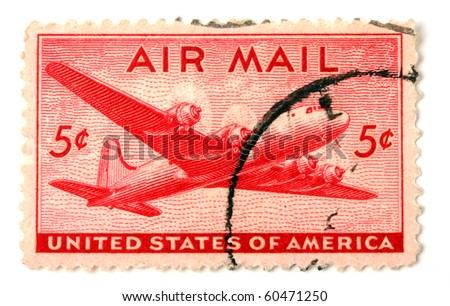 UNITED STATES OF AMERICA - CIRCA 1945: A stamp printed in the United States shows image of an aeroplane, series, circa 1945 - stock photo
