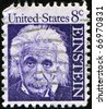 UNITED STATES OF AMERICA - CIRCA 1966: A stamp printed in the USA shows Albert Einstein, circa 1966 - stock photo