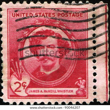 UNITED STATES OF AMERICA - CIRCA 1934: A stamp printed in the USA shows artist James McNeill Whistler, circa 1934