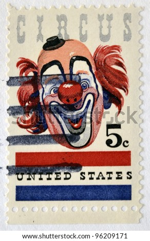 UNITED STATES OF AMERICA - CIRCA 1966 : A stamp printed in the USA shows Circus, circa 1966