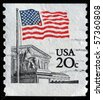 UNITED STATES OF AMERICA - CIRCA 1988: A stamp printed in the USA shows Flag Over Supreme Court Issue, circa 1988 - stock photo