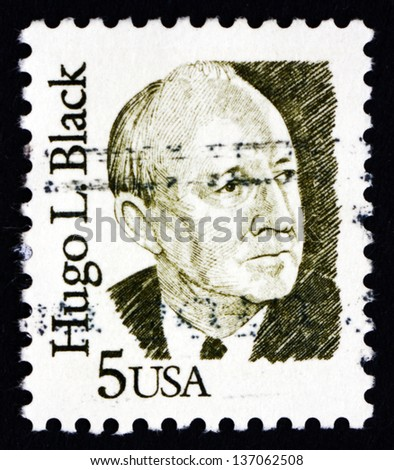 UNITED STATES OF AMERICA - CIRCA 1986: a stamp printed in the USA shows Hugo L. Black, Politician and Jurist, circa 1986 - stock photo
