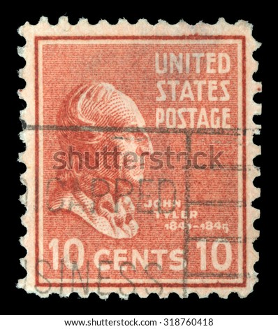 UNITED STATES OF AMERICA - CIRCA 1932: A stamp printed in the USA shows image of President John Tyler, circa 1932 - stock photo