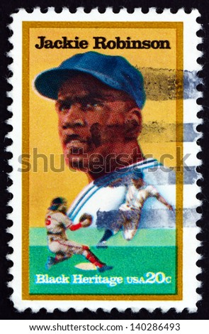 UNITED STATES OF AMERICA - CIRCA 1982: a stamp printed in the USA shows Jackie Robinson, Baseball Player, circa 1982