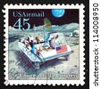 UNITED STATES OF AMERICA - CIRCA 1989: a stamp printed in the USA shows Moon Rover, Futuristic Mail Delivery, circa 1989 - stock photo