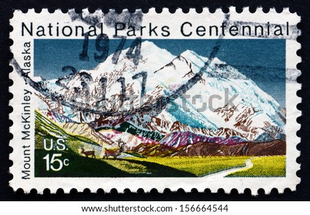 UNITED STATES OF AMERICA - CIRCA 1972: a stamp printed in the USA shows Mt. McKinley, Alaska, Centenary of the National Park System, circa 1972