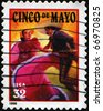 UNITED STATES OF AMERICA - CIRCA 1998: A stamp printed in the USA shows salute to the holiday Cinco de Mayo, circa 1998 - stock photo