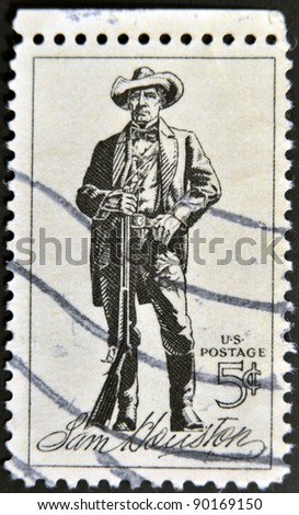 UNITED STATES OF AMERICA - CIRCA 1964 : A stamp printed in the USA shows Sam Houston, circa 1964