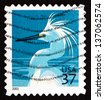 UNITED STATES OF AMERICA - CIRCA 2003: a stamp printed in the USA shows Snowy Egret, Egretta Thula, White Heron, circa 2003 - stock photo