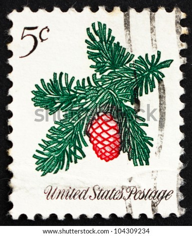 UNITED STATES OF AMERICA - CIRCA 1964: a stamp printed in the USA shows Sprig of Conifer, Christmas, circa 1964 - stock photo