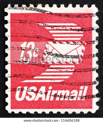 UNITED STATES OF AMERICA - CIRCA 1973: a stamp printed in the USA shows Winged Airmail Envelope, circa 1973