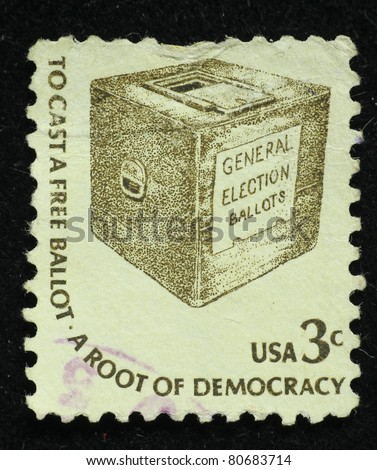 UNITED STATES OF AMERICA - CIRCA 1970: A stamp printed in the USA shows words To cast a free ballot - a root of democracy, circa 1970