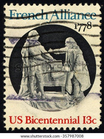 UNITED STATES OF AMERICA - CIRCA 1978: A stamp printed in USA commemorated to French Alliance shows King Louis XVI and Benjamin Franklin, American Bicentennial, circa 1978 - stock photo