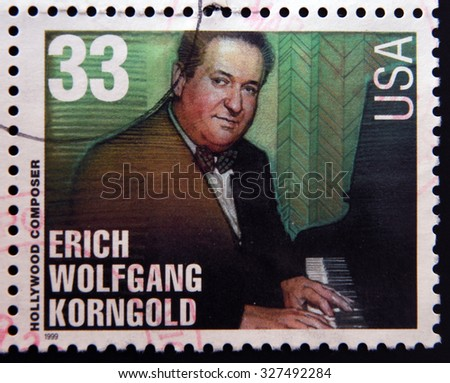 UNITED STATES OF AMERICA - CIRCA 1999: A stamp printed in USA dedicated to Hollywood composer, shows Erich Wolfgang Korngold, circa 1999 - stock photo