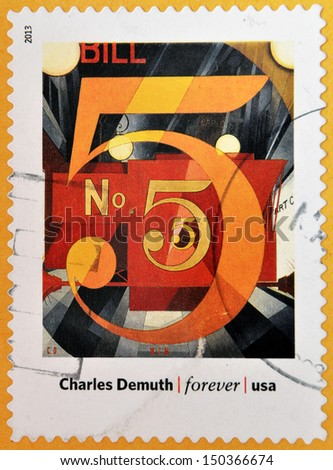 UNITED STATES OF AMERICA - CIRCA 2013: A stamp printed in USA dedicated to modern art in america shows  I Saw the Figure 5 in Gold by Charles Demuth, circa 2013  - stock photo
