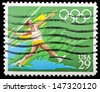 UNITED STATES OF AMERICA - CIRCA 1991: A stamp printed in USA dedicated to Olympic Games of Barcelona 92, shows throwing javelin, circa 1991 - stock photo