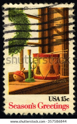 UNITED STATES OF AMERICA - CIRCA 1975: A stamp printed in USA dedicated to Season Greetings, circa 1975 - stock photo