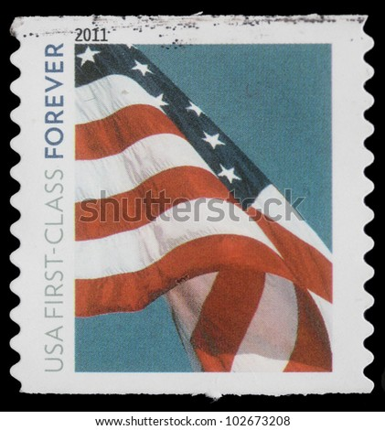 """UNITED STATES OF AMERICA - CIRCA 2011: A stamp printed in USA, Flag, """"USA first -class forever"""", circa 2011 - stock photo"""