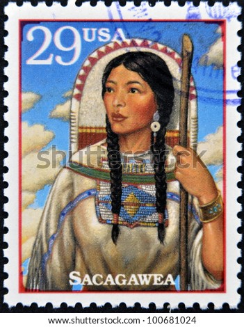 UNITED STATES OF AMERICA - CIRCA 1994 : A Stamp printed in USA show Sacagawea, circa 1994 - stock photo