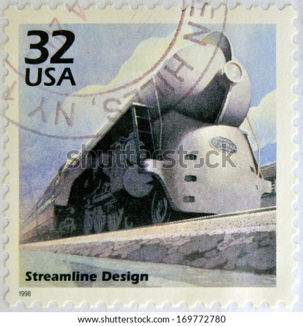 UNITED STATES OF AMERICA - CIRCA 1998: a stamp printed in USA showing an image of a train with streamline design, circa 1998.  - stock photo