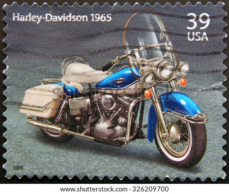 UNITED STATES OF AMERICA - CIRCA 2006: a stamp printed in USA showing an image of motorcycle Harley Davidson model 1965, circa 2006. - stock photo