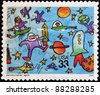 UNITED STATES OF AMERICA - CIRCA 2000 : A stamp printed in USA shows a child's drawing reference to the conquest of space, , circa 2000 - stock photo