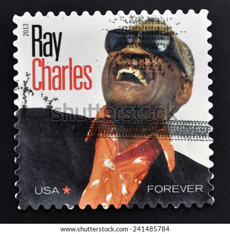 UNITED STATES OF AMERICA - CIRCA 2013: a stamp printed in USA shows an image of Ray Charles, circa 2013.  - stock photo
