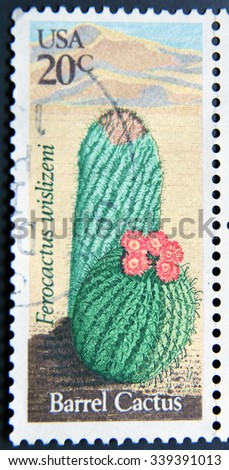 UNITED STATES OF AMERICA - CIRCA 1981: A stamp printed in USA shows Barrel Cactus (Ferocactus, Wislizeni), circa 1981