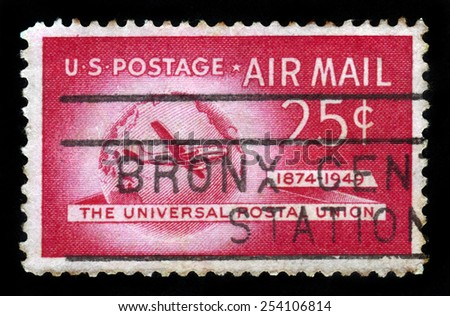 UNITED STATES OF AMERICA - CIRCA 1949: A stamp printed in USA shows Boeing Stratocruiser and Globe, Universal Postal Union Issue, circa 1949 - stock photo