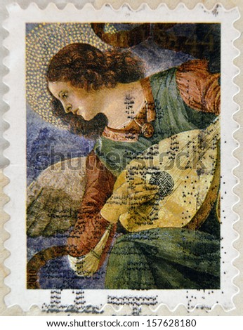 UNITED STATES OF AMERICA - CIRCA 2010: A stamp printed in USA shows Christmas Angel, circa 2010  - stock photo