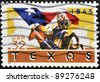 UNITED STATES OF AMERICA - CIRCA 1995: A stamp printed in USA shows Cowboy on horseback carrying Texas flag, circa 1995 - stock photo