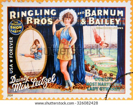 UNITED STATES OF AMERICA - CIRCA 2014: A stamp printed in USA shows Dainty Miss Leitzel; worls most marvelous lady gymnast; circus vintage posters; Ringling Bros, Barnum & Bailey, circa 2014 - stock photo