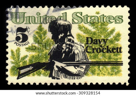UNITED STATES OF AMERICA - CIRCA 1967: a stamp printed in USA shows Davy Crockett, american folk hero, frontiersman, soldier and politician, circa 1967 - stock photo