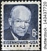 UNITED STATES OF AMERICA - CIRCA 1970: a stamp printed in USA shows Dwight David Eisenhower, President of US, 1953-61, circa 1970 - stock photo