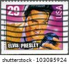 UNITED STATES Of AMERICA - CIRCA 1993: A stamp printed in USA shows Elvis Presley, American Music Series, circa 1993 - stock photo