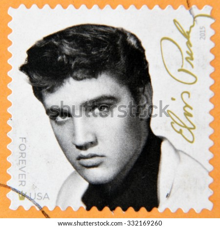UNITED STATES Of AMERICA - CIRCA 2015: A stamp printed in USA shows Elvis Presley, circa 2015 - stock photo