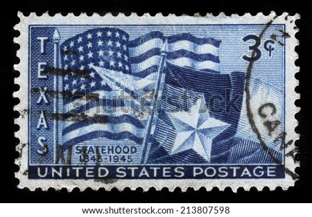 UNITED STATES OF AMERICA - CIRCA 1945: A stamp printed in USA shows flags of the United States and the State of Texas, Texas Statehood, 100th Anniversary, circa 1945 - stock photo