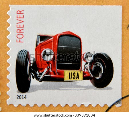 UNITED STATES OF AMERICA - CIRCA 2014: A stamp printed in USA shows 1932 Ford �¢??Deuce�¢?� roadster, circa 2014  - stock photo