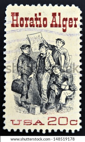 "UNITED STATES OF AMERICA - CIRCA 1982: A stamp printed in USA shows Frontispiece from ""Ragged Dick"", by Horatio Alger, american Author, circa 1982"