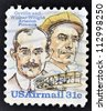 UNITED STATES OF AMERICA - CIRCA 1995: A Stamp printed in USA shows image of the brothers Orville and Wilbur Wright - American aviation pioneers, circa 1995 - stock photo