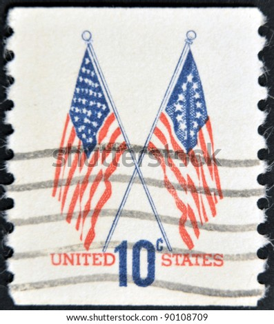UNITED STATES OF AMERICA - CIRCA 1960: A stamp printed in USA shows image of the dedicated to the American Flag, circa 1960