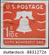 UNITED STATES OF AMERICA - CIRCA 1975: A stamp printed in USA shows image of the Liberty Bell in Philadelphia, circa 1975 - stock photo